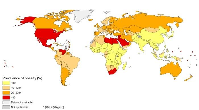 mappa mondiale obesità